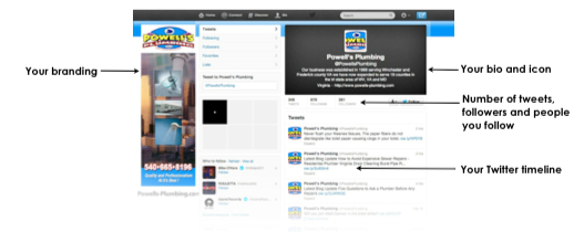 Example of customized Twitter Profile for Contractors
