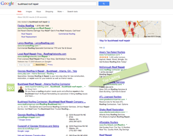 SEO Case Study - Buckhead Roofer - Page One