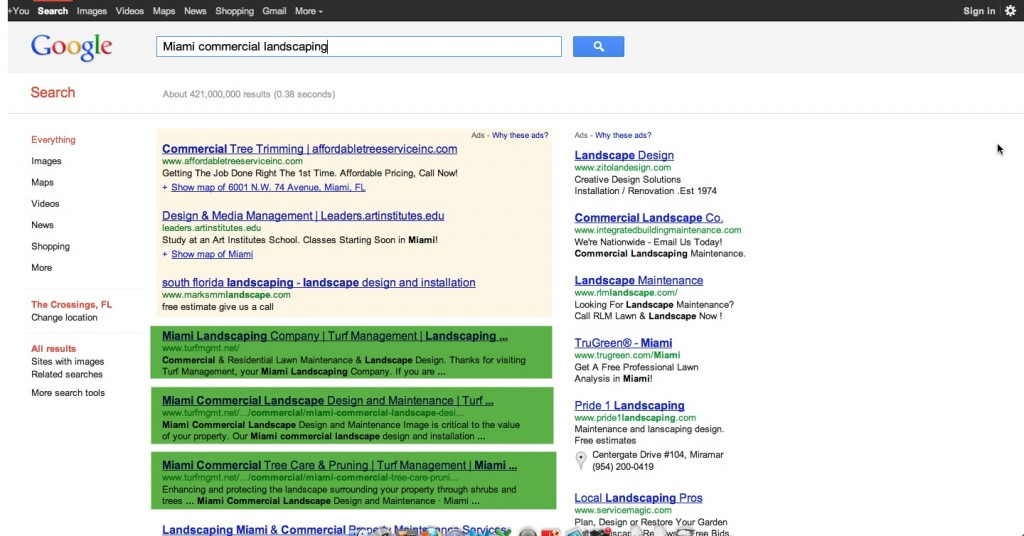 Landcaper SEO - Miami Commerical Landscaping - Page One