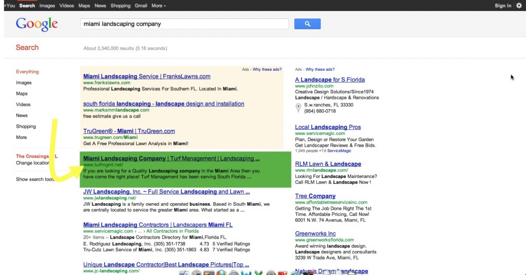 Landscaping SEO - Miami landscaping - Page One Spot One